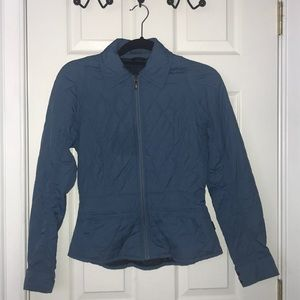soft blue Barbour flyweight quilted coat